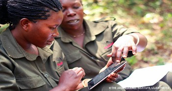 Rangers collecting data via mobile devices in Budongo Forest Reserve, Uganda. Source: the Jane Goodall Institute/ Lilian Pintea.