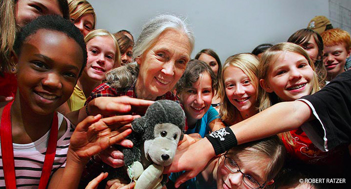 Dr. Jane Goodall with a group of Roots & Shoots members in Salzburg, Austria.
