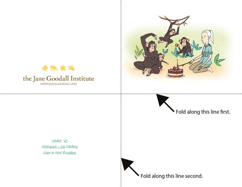 Jane Goodall 82nd Birthday Card (Print w Guides)