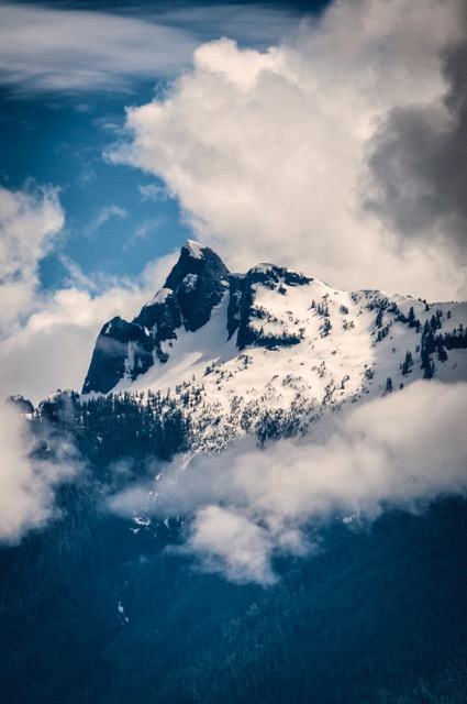 Lions Peak of the mineral-rich Coast Mountain Range bordering Howe Sound.