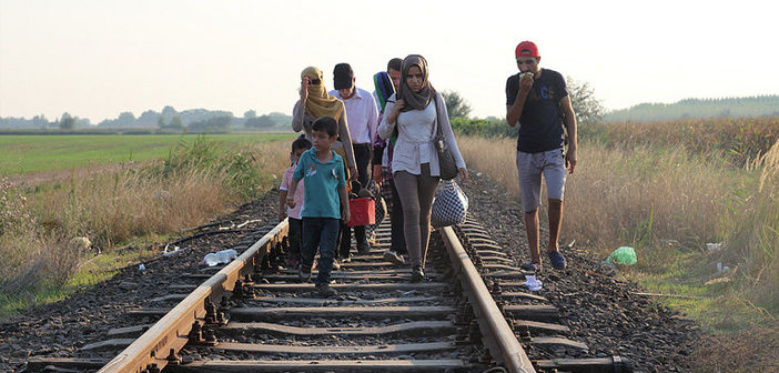 Refugees crossing the boarder
