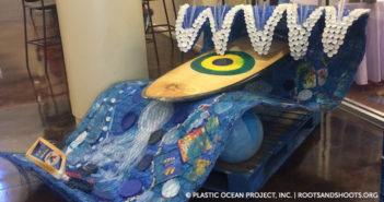"""Wave of the Future"" sculpture made out of litter collected by Plastic Ocean Project Inc. Roots & Shoots."