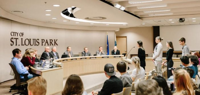 Four Roots & Shoots youth presenting to City Council