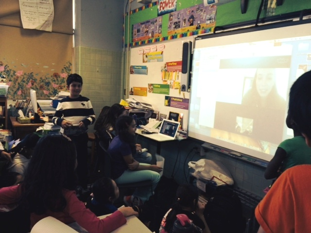 A fifth grade class in New York City, taught by Felice Clyne-Davis, chats with Madi Vorva, NYLC alumna and current JGI board member, via Skype. Madi speaks about the devastating impacts of palm oil and her work advocating for the use of sustainable palm oil in Girl Scout cookies. After this visit, Ms. Davis' class created a campaign to promote recyclable water bottles at their school and continue to work on a variety of other service projects in their community.