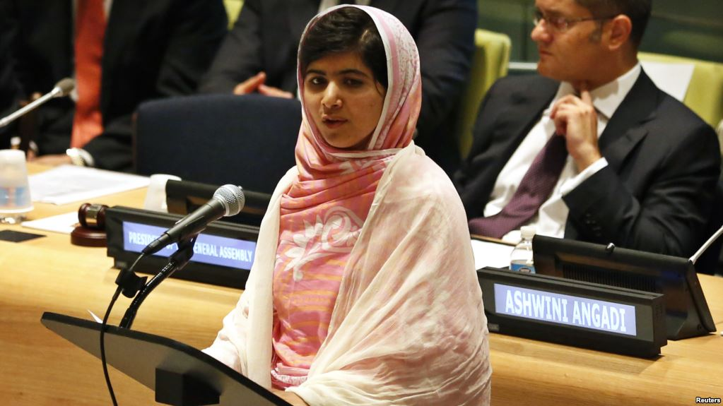 Malala speaks to the United Nations on education for young girls- her first speech since the attack.