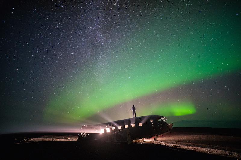 Standing under the northern lights on Sólheimasandur beach, Iceland, 2014 SKOGAFOSS WATERFALL