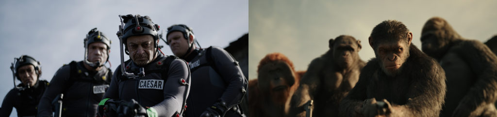 "L-r, Karin Konoval, Terry Notary, Andy Serkis and Michael Adamthwaite on the set of Twentieth Century Fox's ""War for the Planet of the Apes."""