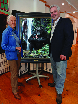 Bruce and Dr Jane Goodall with painting in New York City, Spirit of the Forest Low res