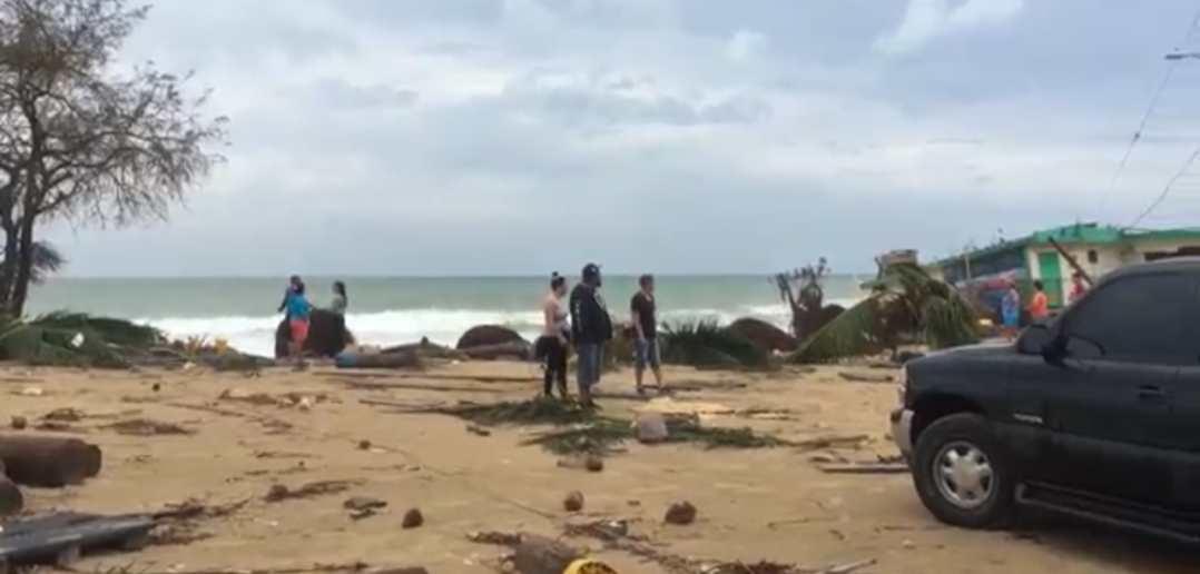 Beach cleanup after Puerto Rico hurricane.