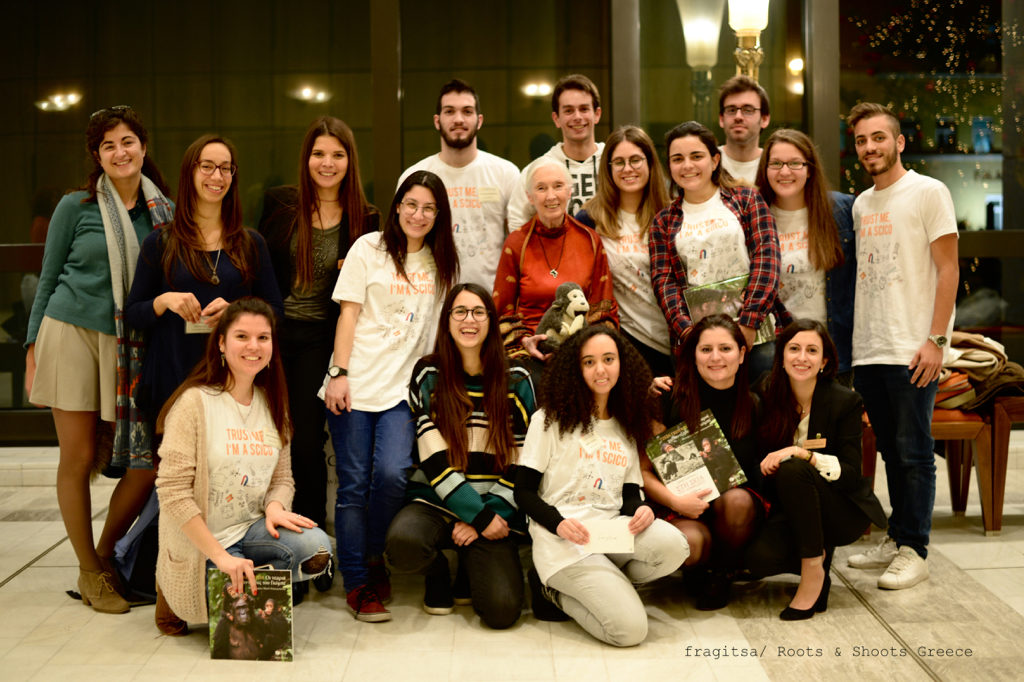 Dr Jane Goodall with the Roots&Shoots Greece team of coordinators and volunteers after her lecture in Athens Greece on December 15th 2016 _Photographer Fragitsa Katogiritis
