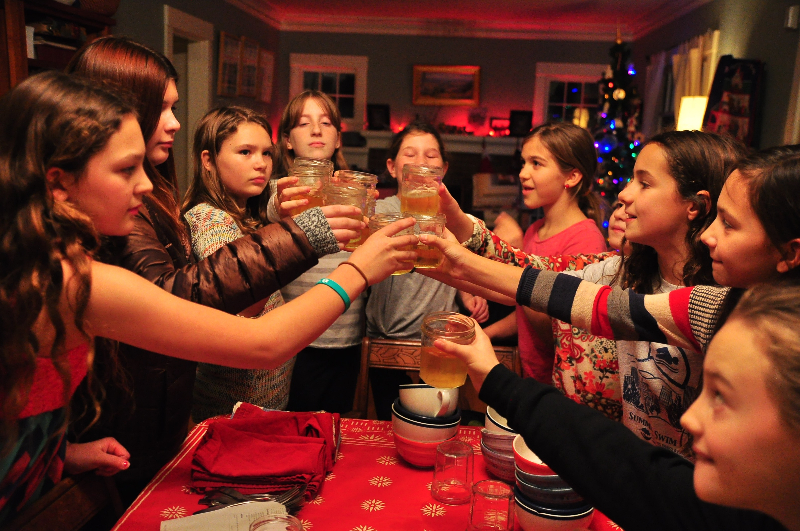 An apple cider toast to celebrate their recipe from Michelle Obama.