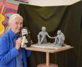 Artist Marla Friedman Sculpts Moment of Connection Between Jane + Chimp David Greybeard