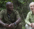 Jane Goodall with JGI Tchimpounga Sanctuary caregivers Will and Serge